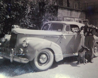 Snapshot Photo 1950s Hipster Dude with his dog and Lincoln Zephyr ? Convertible 1940s HOT ROD