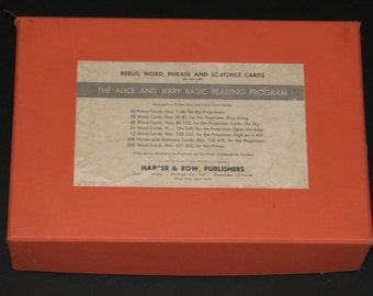 1960s Alice and Jerry BOXED SET Flash Cards - Lot of 509 Rebus, Word, Phrase, and Sentence Cards in Box