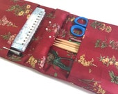 Knitter's Armchair Caddy Red Floral Fabric