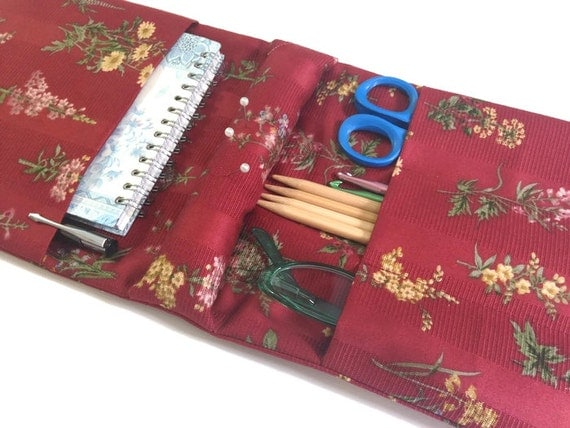 Knitter's Armchair Caddy Red Floral Fabric with Pin