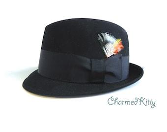 Vintage Men's Hat 60s Stetson Black Pork Pie Hat , Mod Hat - on sale