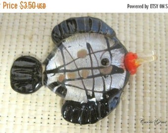 20% OFF ON SALE Lampwork Glass Black Fish Pendant, 55mmx42mm, 1 pc