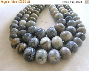 "20% OFF ON SALE 16"" long Grey Jasper Graduate Rondelle Beads, Gemstone Beads"