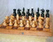 """Vintage Soviet Chess Set Wood Full Set 11 1/2"""" inch wooden board 1980s from Russia Soviet Union USSR"""