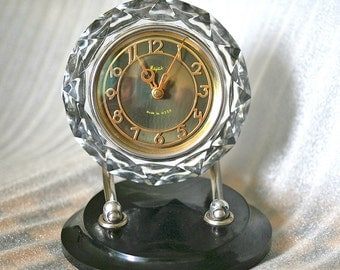 Desk Mantle Table Clock Mayak / Majak - Glass and Bakelite - 1960s - from Russia / Soviet Union / USSR