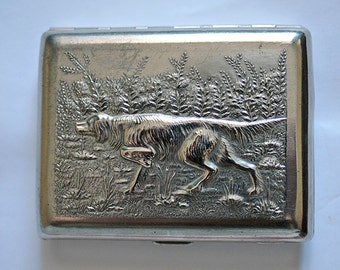 Cigarette Case Business Card Holder Hunting Dog Pointer and Partridges Hunt Pheasants from Russia Soviet Union USSR