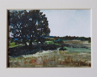 Nicholas Flat, Original watercolor painting, 6x4 inches