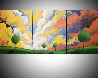 Original acrylic landscape vivid painting abstract triptych landscape large painting wall canvas art Painting gift for her 48 x 20""