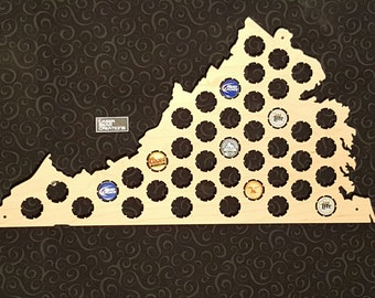 Virginia Shaped Beer Cap Map -- Holds 41 Bottle Caps -- Perfect for your favorite beer lover -- Made in the USA
