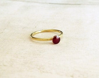 Dark red enamel ring, hammered band ring, stackable ring, gold brass stackable ring, burgundy enamel ring, gift for her