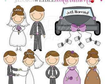 SALE Bridal Stick Figures -BRUNETTE- Cute Digital Clipart - Commercial Use OK, Wedding Stick Figures, Bridal Stick Figure Clip art, Wedding