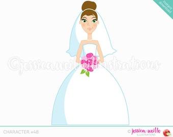 Brunette Forward Facing Bride Character Illustration, Wedding Bride, Bridal Illustration, Cartoon Bride, Pink Flowers, Weddings C048