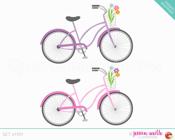 Instant Download Beach Cruiser Bicycle Cute Digital Clipart