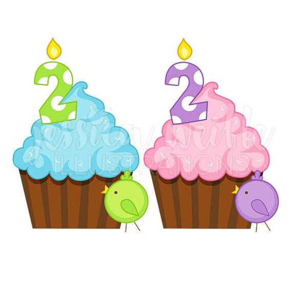 Second Birthday Cupcake Cute Digital Clipart Birthday Cupcake