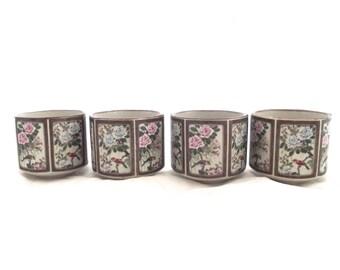 Hexagon Tea Cups, Vintage Set of 4 Sanford Japanese Tea Set Cups with Bird and Flower Design (E2)