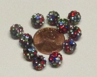 8mm Multicolored Rhinestone Disco Balls (20)