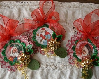 Victorian Christmas ornaments paper gift tags vintage santa glittered paper art ornaments christmas home decor tags paper ornaments