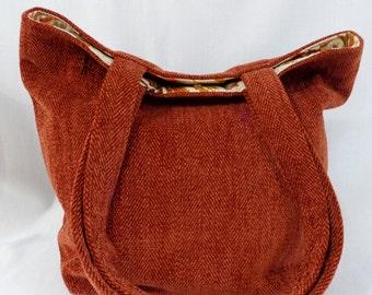 Rust Herringbone Carpet BAG, Medium Tote, Shoulder Purse, Work BAG, Knitting BAG