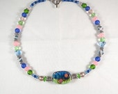 Blue Pink and Green Necklace with Focal Lampwork Bead