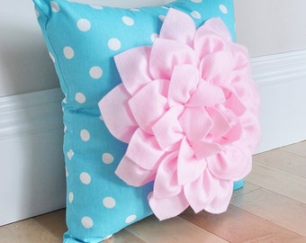 Dahlia Baby Pink Flower on Aqua and White Polka Dot Pillow Accent Pillow Girly Blue Pillow Toss Pillow Decorative Pillow Light Pink Pillow
