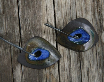 Blue stoneware on sterling silver ear studs