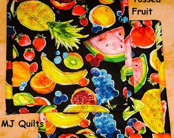 """Pick a Print-Set of 2-8""""-Tossed Fruit-Apples-Pears-Quilted-Handmade-Insulated-Hot Pads-Pot Holders-Premium Cotton-MJ Quilts"""