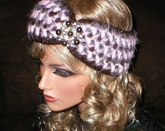 35 % OFF SALE Fall Winter Vintage Style Reproduction Rhinestones Brooch Head Wrap Turban Ear Warmer
