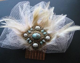 Hair comb vintage | bridal | faux turquoise | faux pearl | gold | veil