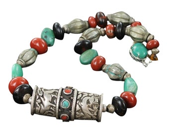 """Tibetan Turquoise Necklace With Red Jasper Beads Sterling 15.75"""""""