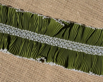 Vintage Lace Lettuce Edge Trim Olive Green Pleated Ruffle New Old Stock