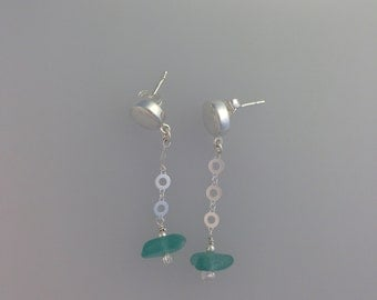 Button Post Earrings with Sea Glass