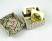 Price Slashed - Lunch Box Note Cards 12 Handmade in Origami Box Dog and Cat Themed Love Notes Dog Lovers Cat Lovers