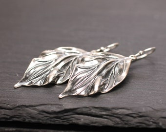 Silver Earrings , Leaf Earrings , Large Earrings , Silver Leaf Earrings , Dangle Earrings , Leaves Earrings , Drop Earrings , Amy FIne