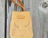ON SALE Leather medicine bag with a buffalo totem , Leather necklace bag