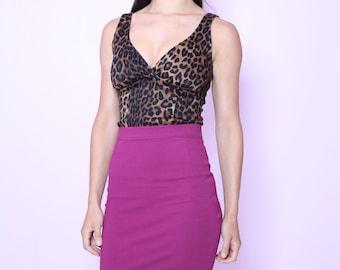 Pinup rockabilly leopard print top