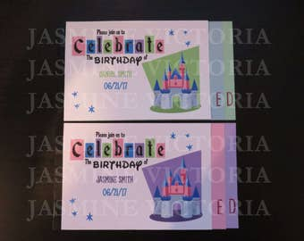 Disneyland inspired Retro Vintage E Ticket 3 Page Birthday Invitation Booklet