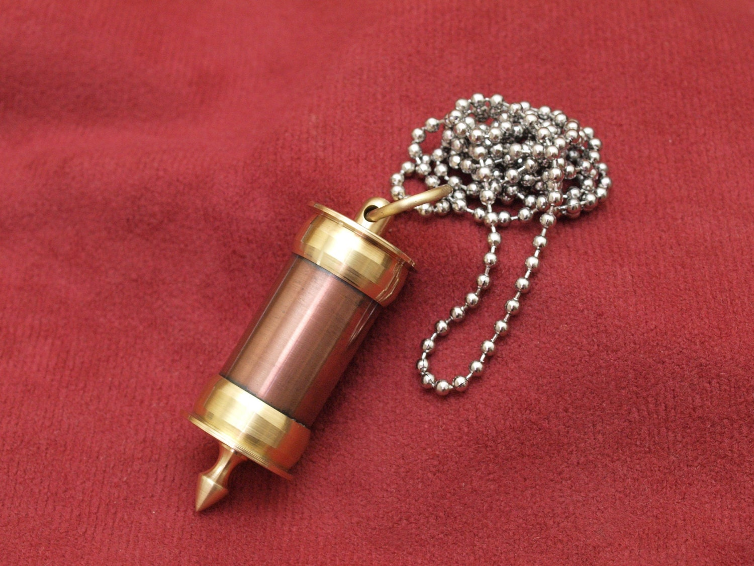 jewelry copper and brass stash necklace