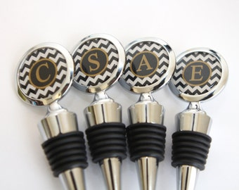 Black Gold Wedding Wine stopper in Custom Colors of your choice,Personalized Wine Stopper, Monogram Wine Stopper