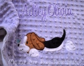 Baby blanket personalized- baby beagle puppy dog name baby blanket- lavender and grey chevron print minky - large stroller blanket 30x35
