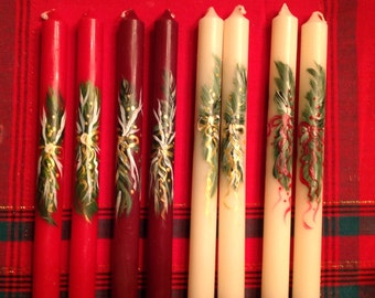 Hand Painted Country Christmas taper candles HOLIDAY tapers EVERGREEN SWAG with Bow, choose colors and quantities