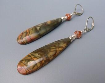 Picasso Jasper Earrings, Picture Jasper Earrings, Picasso Jasper Jewelry, Earthy Colors, Sunstone Earrings, Stone Teardrop Earrings