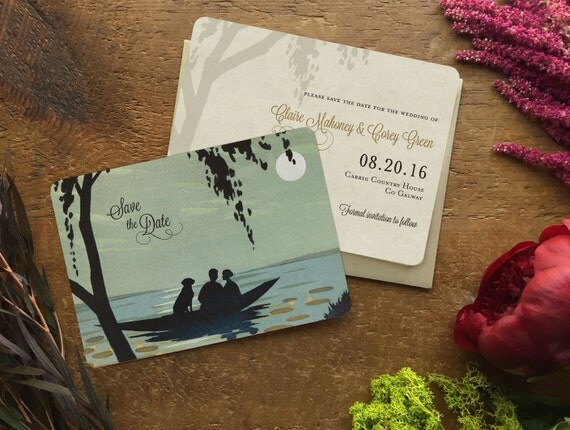 Save the Date Postcard, Beach Wedding Invitation, Lake Wedding Save the Date, Include Your Cat or Dog in Boat, Rustic Wedding Invitation