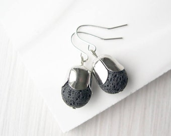 Black Dangle Earrings - Lava Jewelry, Stone, Simple, Semiprecious, Modern, Drop, Nickel Free Sterling Silver Earwires Option