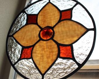 STAINED GLASS SUNCATCHER- Amber Tan Flower Design, Under 40, Wedding, Birthday, Small Gift, Round Stained Glass, Window Decor, Suncatcher