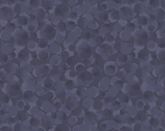 Bluebell Woods by Lewis Irene- Full or Half Yard Cut- Variety shades of purple circles on a dark purple background