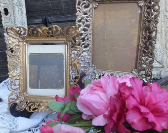 Pr. Mismatched Vintage Gold Filigree Photo Frames, Wall Decor, Wall Photo Frames