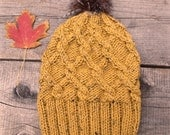Slouchy Hat with Pom Pom, Pom Pom Hat, Faux Fur Pom Pom, Slouchy Beanie, Cable Knit Hat, Cable Knit Beanie, Knitting Hat, Knit Hat, Yellow