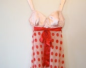 ON SALE Vintage / Pink and Red / Polka Dot / Baby Doll / Nightgown / Medium /