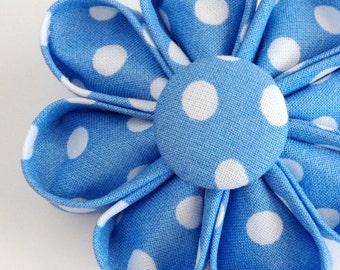 Blue Polka Dots Lapel Pin - Kanzashi Brooch - Boutonniere