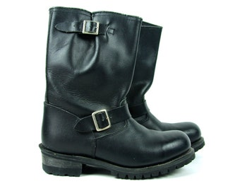 Vintage Black Leather Motorcycle Boots in Great Vintage Condition - Men's Size 8